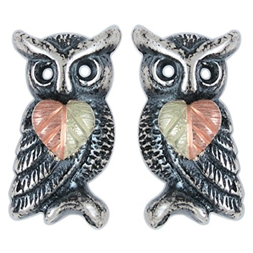 Oxidized Owl Leaf Earrings, Sterling Silver, 12k Green and Rose Gold Black Hills Gold Motif by Black Hills Gold Jewelry