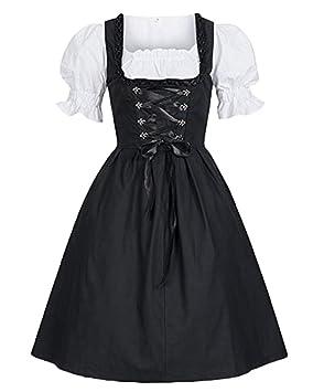 Runyue Vestido Largo Medieval para Mujer Renacentista Manga Corta Victoriano Gotico Disfraz Negro 5XL