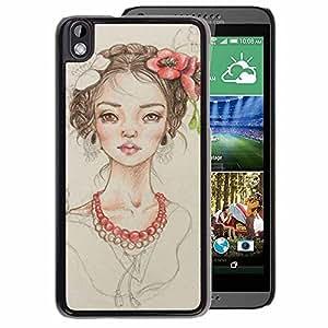 A-type Arte & diseño plástico duro Fundas Cover Cubre Hard Case Cover para HTC DESIRE 816 (Floral Girl Pearl Fashion Portrait Beige)