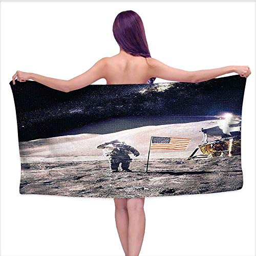 Leigh home Bath Towel,Astronaut on Moon with American Flag Invasion Rocket Cosmonaut Mission Photo Print Taupe,Good Ideal for The Kid's Bathroom, a Guest Bathroom W 31.5