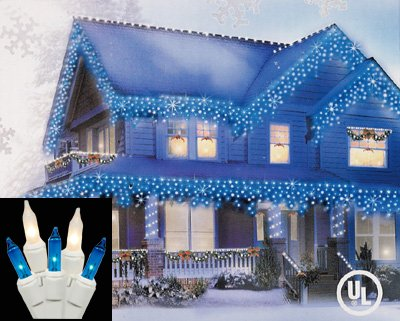 Set of 100 Blue and Clear Frosted Icicle Christmas Lights - White Wire -