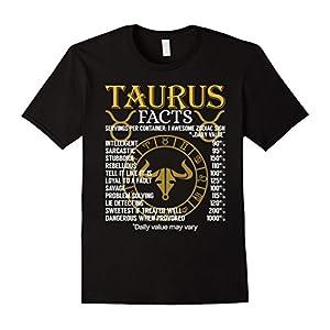 Mens Taurus Facts Zodiac Sign T-Shirt XL Black
