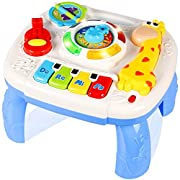 JOKDEER Baby Kids Toys Toys Learning 6-12 Months up,Early Education Music Activity Center Multiple Modes Larrning&Game Table for Ki, White, 9.8x9.3x3.1inch