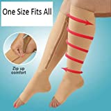 Compression Zipper Socks Running Jumping Varicose Veins Swollen Feet Ankle Muscle Fatigue Black One Size Fits All