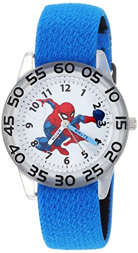 Marvel Boy's 'Spider-Man' Quartz Plastic and Nylon Casual Watch, Color:Blue (Model: WMA000173)