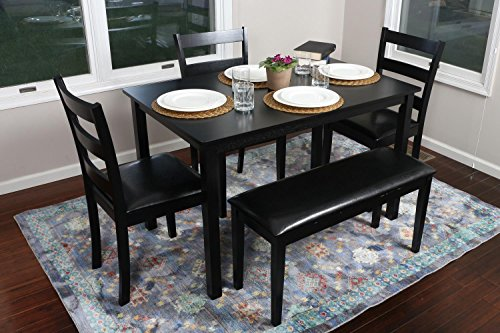 4 person 5 piece kitchen dining table set 1 table 3 leather chairs 1 bench black. Black Bedroom Furniture Sets. Home Design Ideas