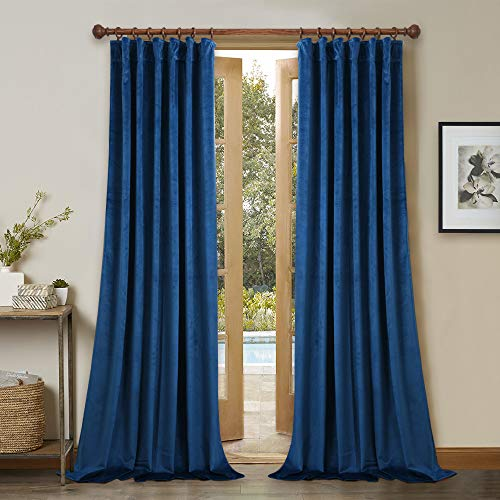 StangH Blue Velvet Curtains Pair for Bedroom Thermal Insulated Drapes, Light Blocking & Noise Buffer Soft Velvet Panel Drapes for Guest Room Indoor Decoration, W52 x L84, Set of 2