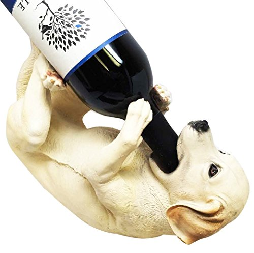 Wall Charmers Labrador Retriever Puppy Dog Wine Bottle Holder Rack Kitchen Decor Canine Figurine Statue Caddy
