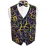 Mardi Gras Fat Tuesday Tuxedo Vest and Bow Tie Size Xlarge
