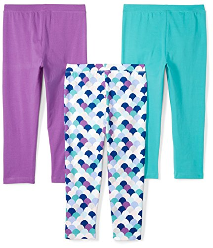 Spotted Zebra Girls' Toddler 3-Pack Capri Leggings, Mermaid, 2T by Spotted Zebra (Image #2)