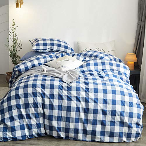 ATsense Blue Checkered Duvet Cover King, 100% Washed Cotton, 3-Piece Bedding Duvet Cover Set, Ultra Soft and Easy Care…