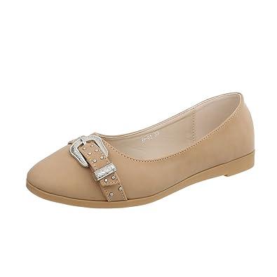 Ital-Design Klassische Ballerinas Damen-Schuhe Blockabsatz Pink, Gr 37, A-166-1-