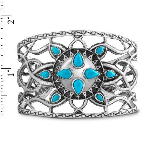 Kenneth Johnson Sterling Silver Sleeping Beauty Cuff Bracelet, Medium by American West