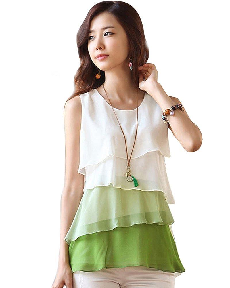 MAKIYO niveles reloj de mujer con esfera de costura para blusas sin mangas para mujer blusa de chifón de falda de cojín: Amazon.es: Ropa y accesorios