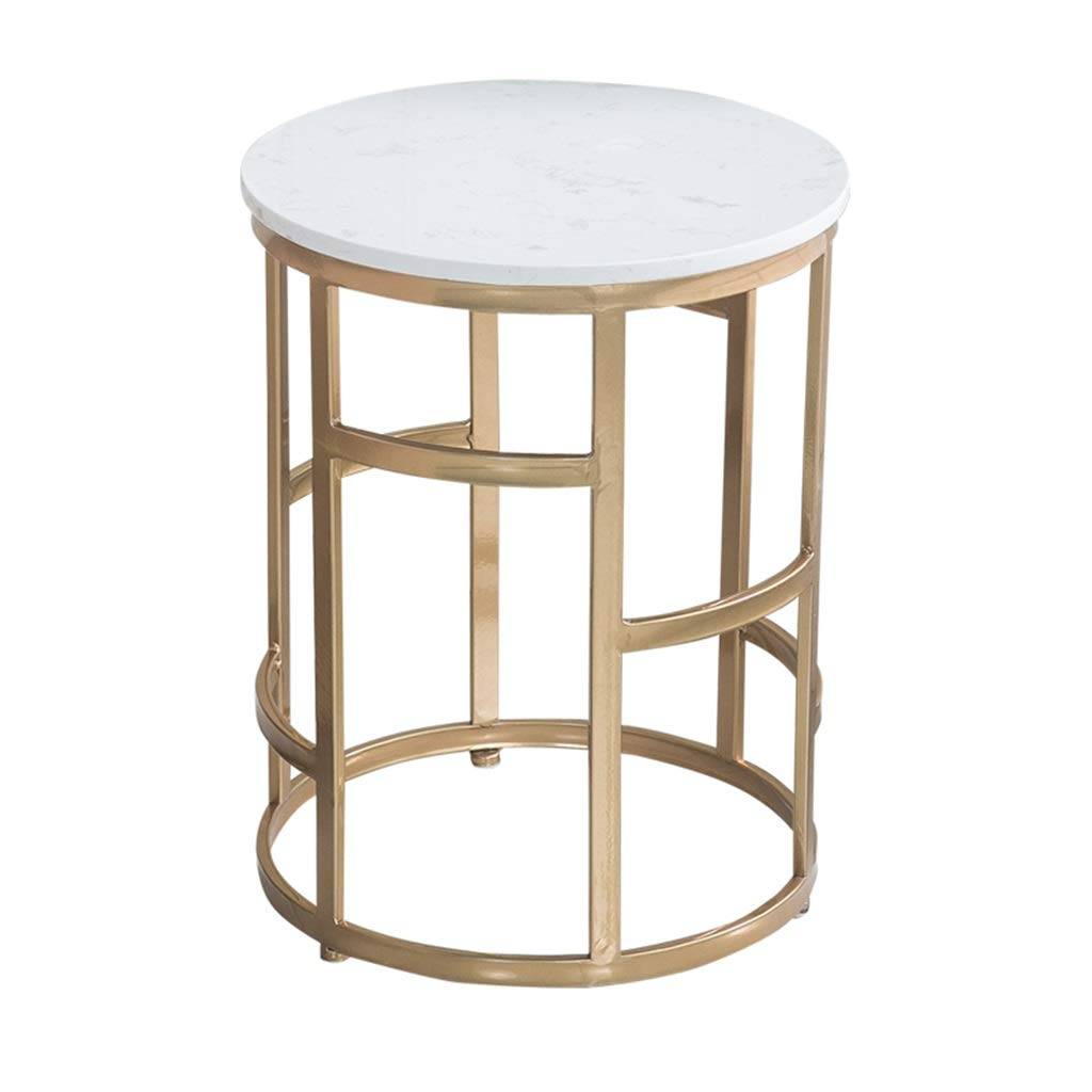 LQQGXLBedside Table Round Coffee Table Metal Frame Marble Table Small Side Table by LQQGXL
