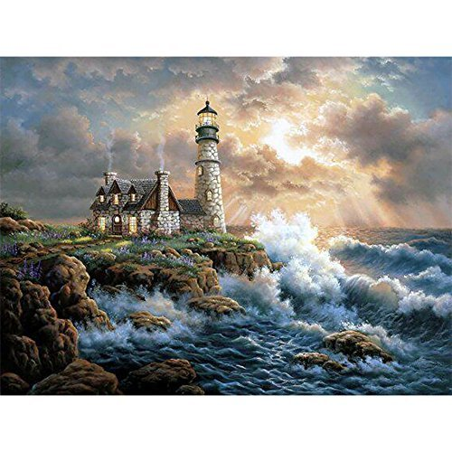 Cottage Lighthouse - MXJSUA DIY 5D Diamond Painting by Number Kits Full Drill Rhinestone Embroidery Cross Stitch Pictures Arts Craft for Home Wall Decor,Seaside Lighthouse Cottage - 12x16inch