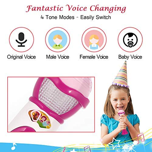 Lumiparty Kids Microphone Karaoke Microphone Machine, Music Microphone,Voice Changing and Recording Microphone with Colorful Lights, Best Toys for Kids Girls Toddlers.(Pink) by Lumiparty (Image #4)
