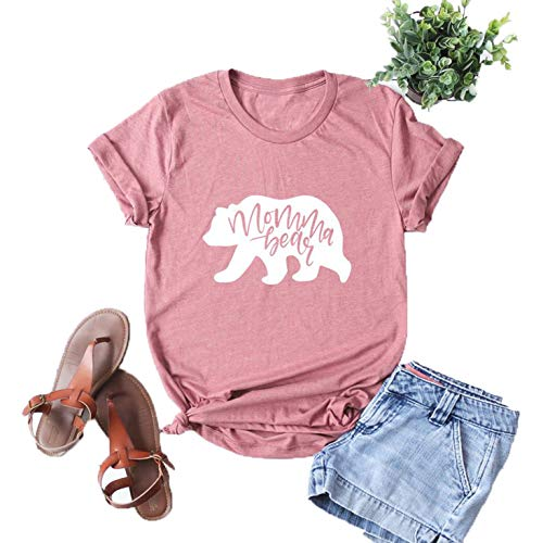 Mama Womens Pink T-shirt - Vaise Women Mama Bear Shirt Short Sleeve Loose Fit Casual Tops T Shirts Cute Printed Tee (L, Pink)