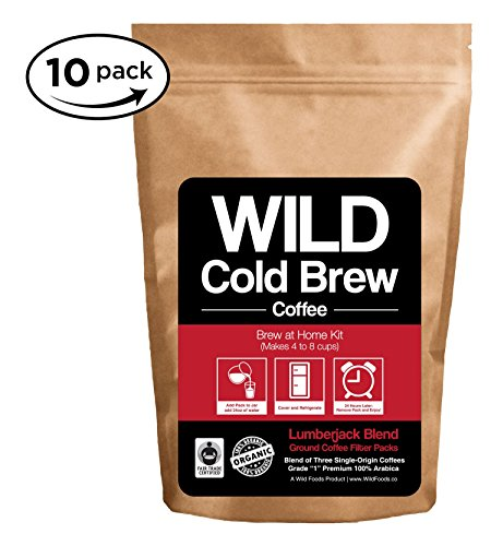 Cold Brew Coffee Kit, Brew-At-Abode Wild Coffee Pouch made with Ground Organic Wild Coffee, Fair trade, Single-origin, Fresh roasted High-appearance Coffee (Lumberjack Blend, 10 Pouch)