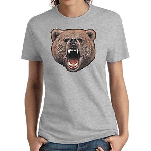 Wild Life Ladies Shirt Bear Bite Women's Missy S-3XL (Heather Gray, 3XL) (Bear Bite Shirt)