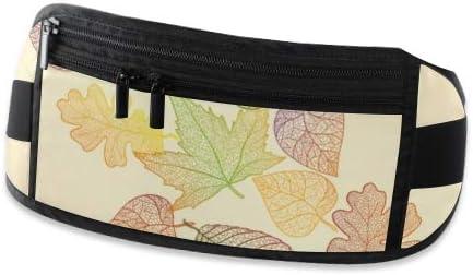 Travel Waist Pack,travel Pocket With Adjustable Belt Autumn Maple Oak Leaves Pattern Running Lumbar Pack For Travel Outdoor Sports Walking