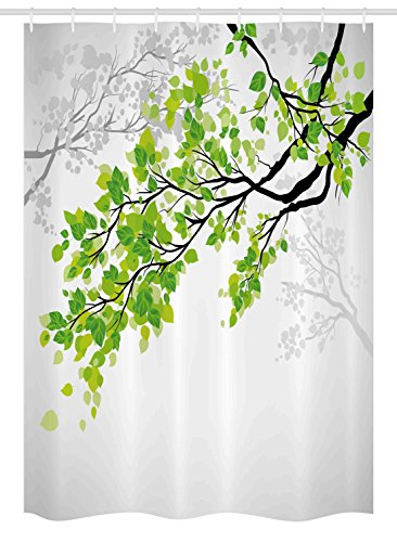Nature Decor Stall Shower Curtain by Ambesonne, Twiggy Spring Tree Branch with Refreshing Leaves Summer Peace Woods Graphic, Fabric Bathroom Decor Set with Hooks, 54 W x 78 L Inches, Green Grey