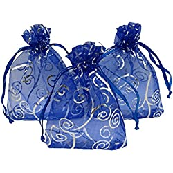 Ankirol 100pcs Sheer Organza Favor Bags For Wedding Baby Shower Rattan Print Gift Bags Samples Display Drawstring Pouches (3x4, blue)