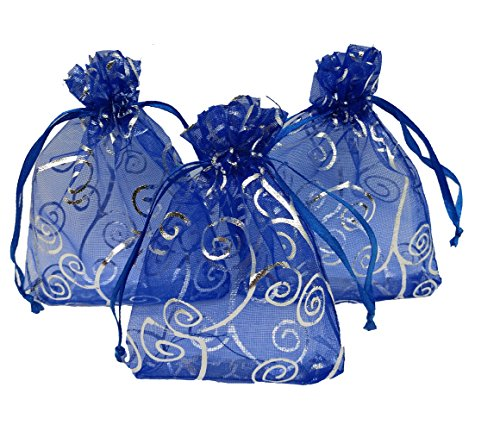 Ankirol 100pcs Sheer Organza Favor Bags For Wedding Baby Shower Rattan Print Gift Bags Samples Display Drawstring Pouches (4x6, blue)