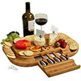 #8: Upscale Bamboo Cheese Board - 50% Larger Cutting Surface than Similar Boards- 4 Stainless Steel Cheese Tools in a Slide Out Hidden Drawer plus Cheese Markers - Designed & Quality Assured in California