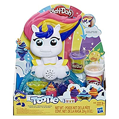 Play-Doh Tootie The Unicorn Ice Cream Set with 3 Non-Toxic Colors Featuring Color Swirl Compound: Toys & Games