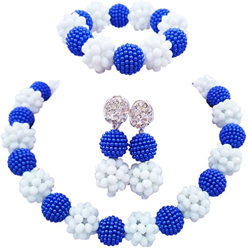 aczuv Simulated Pearl and Crystal Ball Beaded Necklace Jewelry Set African Wedding Beads (Royal Blue White)