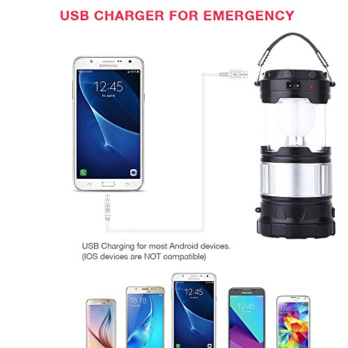CaseTop Outdoor Camping Lamp, Portable Outdoor Rechargeable Solar LED Camping Light Lantern Handheld Flashlights with USB Charger, Perfect Hiking Fishing Emergency Lights