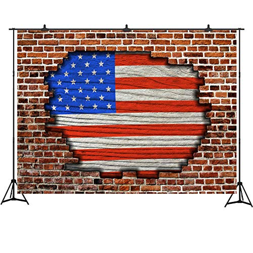 Independence Day American Flag Backdrop for Photos Fourth of July Brick Wall Photography Background 7x5ft Vinyl Patriotic US Flag Banner for Party