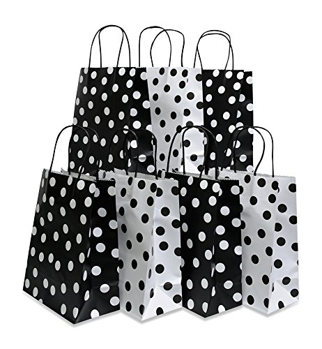 Assorted bright color Kraft paper gift bags, medium, set of 16 bags, 8'' x 10'' x 4'' (Black & White, 16 Bags) by Kraft King