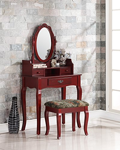 Cherry Bedroom Furniture Set Wood (Roundhill Furniture Ribbon Wood Make-Up Vanity Table and Stool Set, Cherry)