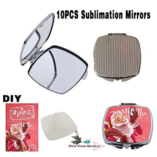10 PCS Sublimation Blanks Pocket Square Mirror Heat Transfer Engraved DIY for Women Men Fashion Makeup Compact Mirrors ()