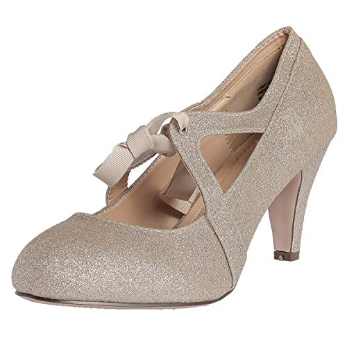 Chase & Chloe Kimmy-62 Closed Toe T-Strap Two Tone Oxford Pumps (9 M US, Gold Glitter)