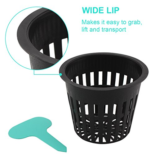 GROWNEER 50-Pack 3-Inch Net Cups Slotted Mesh Wide Lip w/ 5Pcs Plant Labels Heavy Duty Filter Plant Net Pot Bucket Basket for Hydroponics Garden Containers by GROWNEER (Image #1)