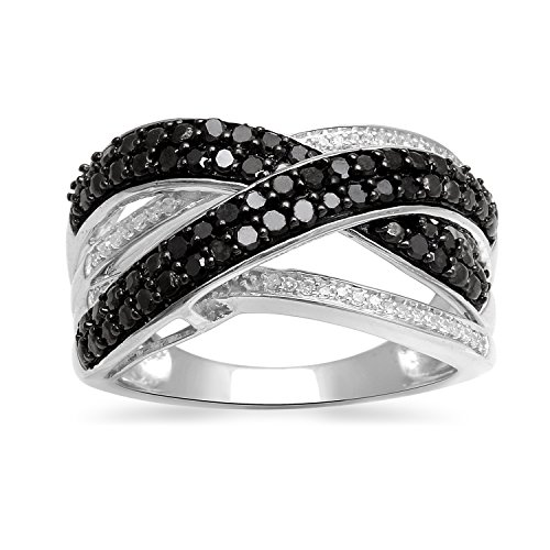 Jewelili Sterling Silver 1/2cttw Black and White Diamond Criss Cross Ring, Size 7