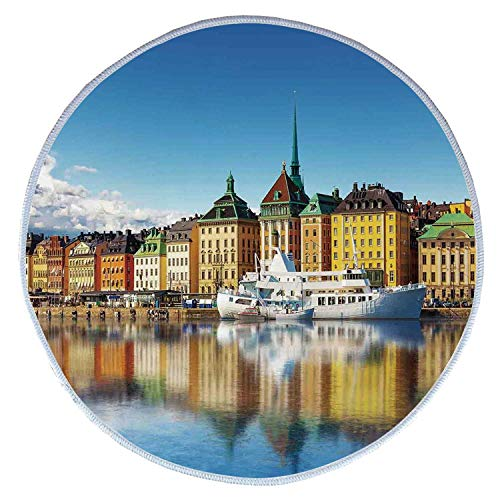 YOLIYANA Wanderlust Decor Comfortable Round Pet Rug,Summer Panorama of The Gamla Stan in Stockholm Sweden Yacht Ship by The Port Ocean for Pet,Diameter 31 Inches