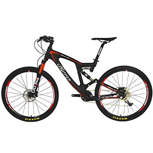 BEIOU Carbon Dual Suspension Mountain Bicycles All Terrain 27.5 Inch MTB 650B Bike SHIMANO Breaking LTWOO 11 Speed 12.7kg T700 Frame Matte 3K CB22 (Orange, 18