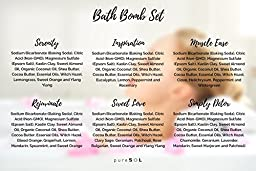 pureSOL Bath Bombs 6 Pack - Treat Yourself to a Relaxing & Luxurious Bath Time - Natural & Organic - Bath Bomb Essential Oils - Soothes Joints & Muscles - Bath Bomb Gift Set
