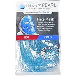 TheraPearl Face Mask, Reusable Hot Cold Therapy Mask with Gel Beads, Flexible Non Toxic Hot Cold Compress for Acne, Best Spa Wrap for Swollen Face, Puffy Eyes, Relaxation, Stress Relief