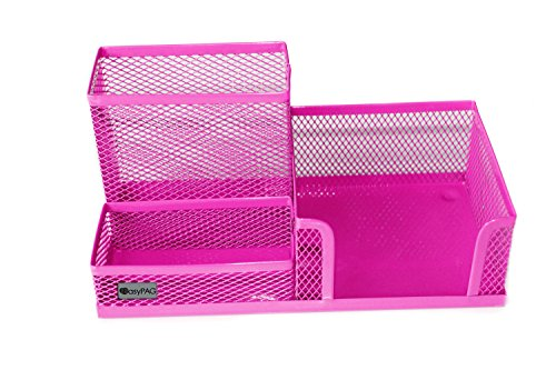 EasyPAG Mesh Desk Supplies Organizer 3 Sections Office Accessories Storage ,Pink