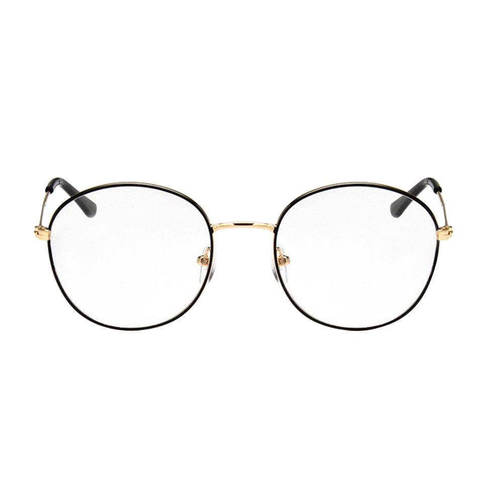 9e5769d8e9bc Amazon.com: Unisex SLD9728 Classic Metal Thin Frame Rim Round Eyeglasses  Small Size (black+gold, 0): Clothing