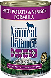 Natural Balance L.I.D. Limited Ingredient Diets Canned Dog Food, Sweet Potato & Venison Formula, 13-Ounce Cans (Pack of 12)