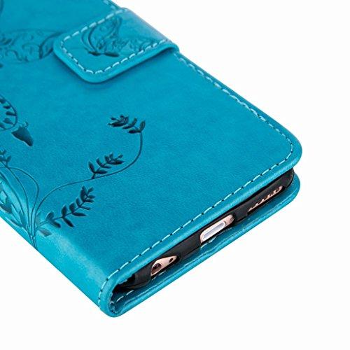 Yiizy Apple IPhone 6 / IPhone 6s Hülle, Schmetterling Blume Entwurf PU Ledertasche Klappe Beutel Tasche Leder Haut Schale Skin Schutzhülle Cover Case Stehen Kartenhalter Stil Bumper Schutz (Blau)