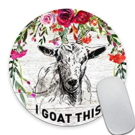 Smooffly I Goat This Quote Cute Round Mouse Pad, Office Desk Accessories, Goat Mouse Pad, Desk Decor, Funny Office Gifts…