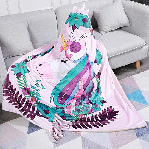 """FamFun Baby Unicorn Blanket for Kids - Throw Blankets Wrap with Hood - Super Soft Comfy Large Comforter 50"""" x 60""""   Great Present for Toddlers Children Teens and Young Girls"""