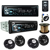 Pioneer DEH-X4800BT CD receiver and Two Pairs JVC CS-J620 16cm (6-1/2) 2-Way Coaxial Speakers and SW1850 Digital Audio Speaker Sets, Wire, 18 AWG, (50 feet)